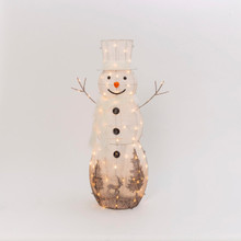 Electric Lighted White Snowman with Clear Mini Lights