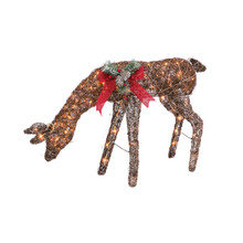 Electric Lighted Feeding Doe with Red Bow