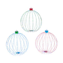 Set of 3 Lighted Metal Wire Ornament with Remote