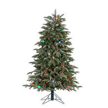 4ft Natural Cut Lightly Flocked Smoky Mountain Pine with Pine Cones and Multi Colored Twinkling Light