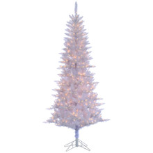7.5ft White Tiffany Tinsel Tree with Clear Lights