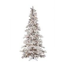 7.5ft Heavy Flocked Layered Spruce with Clear & Warm White Lights