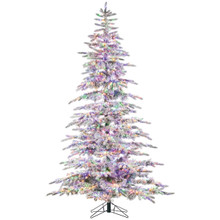 7.5ft Flocked Mountain Pine with Micro LED Color Changing Lights