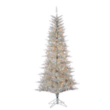 7.5ft Silver Tuscany Tinsl Tree with Clear Lights