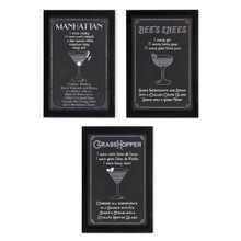 Set of 3 Wood Cocktail Recipe Wall Decor