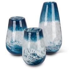 Set of 3 Blue Art Glass Vase