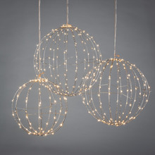 Set of 3 Electric Lighted Silver Sphere