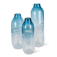 Set of 3 Art Indigo Glass Vases