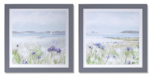 Set of 2 Framed Ocean and Floral Print