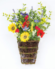 Set of 2 Sunflower and Poppy Wall Basket