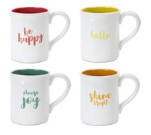 Set of 4 Christmas Greeting Mug Set