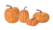 Set of 4 Orange Decorative Pumpkins