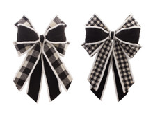 Set of 2 Black and White Christmas Bow