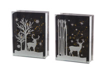 Set of 2 Lighted Glass Deer and Tree Table Piece with Timer