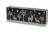 Lighted Glass Winter Scene Table Piece with Timer