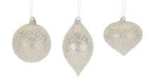 Set of 6 White and Silver Glass Ornaments