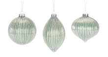 Set of 6 Green and Silver Glass Ornaments