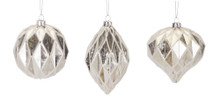 Set of 6 Frosted Silver Glass Ornament