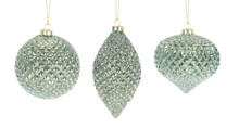 Set of 6 Textured Green and Silver Diamond Glass Ornament