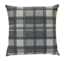 Grey and Blue Plaid Pillow