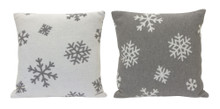 Set of 2 Grey and White Snowflake Pillow