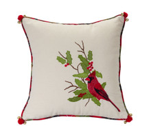 17in Cotton Cardinal Pillow