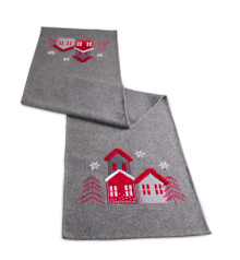 Grey and Red Table Runner with Houses