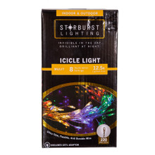 This 12.5-ft 220-Light Starburst Multi-Color LED Icicle Light Set from Kurt Adler is a great addition to any lighting decoration. This light set features ultra-thin, flexible and durable wire for an invisible look during the day and a brilliant and bright look at night. This set includes 220 miniature multi-color LED lights with a timer of 6 hours on and 18 hours off. It has 8 illumination settings which include steady on, twinkle, fading, chasing, slow glow, sequential, waving and combination. It has a silvery wire that can be shaped, a 12.5-ft lighted area with 15-drops and a 6-ft lead wire and includes a CETL adaptor. Starburst icicle lights are a perfectly discreet and decorative lighting solution for any indoor or outdoor setting.