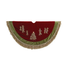 This Kurt Adler 50-in Burgundy Ribbon Trees Tree skirt with Green Tassel Border is a beautiful, festive way to add to the decoration of your Christmas tree! The center of the skirt is burgundy, and the front half features 7 small trees; the outside of the skirt is comprised of a green border with tassels.