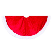Add the finishing touch to your Christmas tree with this 44.5-in Red Velvet Tree skirt with White Trim from Kurt Adler. Its round 44.5-in design is modeled after Santa Claus' red and white suit and hat - perfect for adding a festive touch to your decoration.