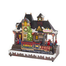 Add a fun and festive touch to your holiday decoration with this 12-in B/O Musical LED Village from Kurt Adler. This Tabletop features a miniature snowy Christmas village design, complete with LED lighting and a moving old-fashioned train. This musical piece plays 8 of your favorite Christmas tunes. B/O; uses 3 AA batteries (not included).