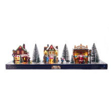 This 5.5-in B/O LED Lit Christmas Village, 17 Piece Set from Kurt Adler is a fun way to bring the magic of the holidays to your home. This set features 17 removable pieces: 3 shops, 8 flocked trees of varying sizes, 2 lamppost, and 4 characters. This set can be placed throughout the house or together for the perfect addition to any holiday decoration!