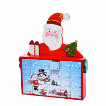 Countdown the days 'til Christmas with this 12-in Santa Advent Calendar form Kurt Adler! Its red design features Santa Claus with his arms around a large cabinet which houses 24 tiny numbered drawers. The empty drawers on the cabinet make up a snowy scene of a snowman and a child. Fill each drawer with a treat or a small trinket to enjoy as you open each one as you make your way towards Christmas Day!