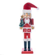 "This 15-in Wooden Santa Advent Calendar Nutcracker from Kurt Adler is a fun and festive addition to any holiday decoration or nutcracker collection. This nutcracker features Santa Claus wearing his classic red and white suit and hat. He is holding a small green Christmas tree and a red and white compartment that reads, ""Days 'til Christmas."" In side this compartment are two movable blocks with a number on each side -- each day throughout the Advent season, arrange the blocks to show the amount of days left until Christmas Day!"