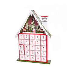 This 15.5-in B/O Light-Up House Advent Calendar by Kurt Adler is a fun and festive addition to any holiday decoration! Its classic design resembles a house and features 25 empty drawers, waiting for you to fill it with tiny gifts and treats of your choice. Each drawer is numbered from one to twenty-five. A scenic wood display features a house among snow covered trees and two deers.