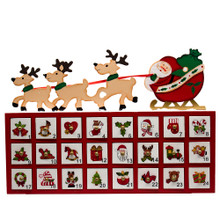 Countdown to Christmas with this 8-in Wooden Santa and Sleigh Advent Calendar from Kurt Adler. Santa is featured riding his reindeer led sleigh on top of the red and white based calendar. Each door has a unique decorative photo drawn on, perfect for counting down the days until Christmas!