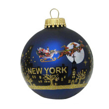 "This Kurt Adler NY Santa skyline painted ball ornament is a fun, festive way to add to your holiday decoration, especially if you are a native New Yorker or a visitor of New York City! with a deep night sky blue background, this ornament resembles the New York City nighttime skyline with Its silhouetted black buildings, yellow lighted windows, stars and trees. for a festive touch, flying across the skyline is Santa Claus being led in his sleigh by his trusty reindeer. The words ""New York"" are also displayed across the skyline scene in yellow."