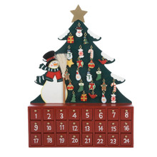 This Kurt Adler Wooden Snowman with Tree Advent Calendar is a fun, festive way to Countdown the days throughout Advent until Christmas Day! This large green Christmas tree has 24 small golden hooks on which to hang 24 tiny, detailed ornaments, including candy, trees, stockings, wreaths, snowmen, and birds. Standing next to the tree is a snowman wearing a black tophat, and green and white striped scarf, a red and green coat, and is holding an actual bristled broom. The base that is holding the snowman and tree is a large red chest with 24 numbered doors--one for each of the tree ornaments, so that each day in Advent, a new door can be opened to reveal a new ornament to hang!