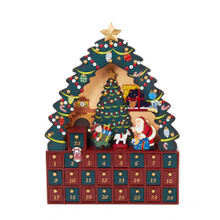 This 16-in Christmas Tree 24-Piece Advent Calendar from Kurt Adler is a fun and festive way to Countdown the days until Christmas during the Advent season! Its unique design includes a large Christmas tree framing a scene in which Santa Claus is deliver gifts inside a beautiful house. The base of the tree contains 24 tiny doors (with 1 inside the above scene), each with an ornament with which you can place on the tree each day.