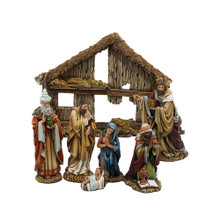 This Kurt Adler 6-in Resin Nativity Set of 7 is a beautiful, detailed way to add to your Christmas decoration while being reminded of the true meaning of Christmas. This 7-piece set includes a large stable adorned with realistic straw detailing, and 6 stationary figurines: the Holy Family (3), and the Three Wise Men.