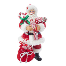 This 10.5-in Santa with Candy and Sack from Kurt Adler is a fun and festive addition to any holiday decoration. Santa Claus is featured here in his classic red and white suit and hat. He has an armful of classic peppermint candies and has a large red sack at his feet also filled with peppermint candies.