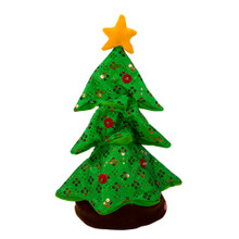 "This 18"" B/O Singing and Dancing Plush Christmas Tree by Kurt Adler is a fun and festive addition to any holiday decoration! Sure to entertain your holiday guests, this soft green Christmas tree is adorned with sequins, lights, and ornament-like embellishments. When activated, the tree lights up and starts dancing while singing a fun Christmas version of the tune ""Shout""! B/O, this plush decoration uses 3 ""AAA"" batteries (included)."