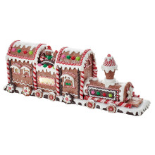 """Add a fun, classic touch to your holiday decoration with this 19.5"""" B/O Gingerbread LED Train Tabletop from Kurt Adler. This train is festively decorated with gingerbread and candy-inspired detailing. When switched on, this piece lights up. B/O; uses 3 AA batteries (not included)."""