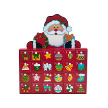 Enjoy counting down the days to Christmas with our wooden Santa Advent calendar from Kurt Adler! This calendar features Santa Claus holding a wreath and a gift box. Open each of the boxes to put your small gifts and candies for the children to enjoy!