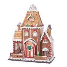 Add a sweet touch to your holiday decoration with this 16-in Fancy Claydough Gingerbread House from Kurt Adler. Its beautifully detailed mansion-style design features candy cane and icing detailing. When the UL cord is plugged in, this house is illuminated from within by two soft white C7 bulbs.