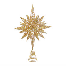 Add the perfect finishing touch to your Christmas tree with this gold glitter three-dimensional star treetop from Kurt Adler. Its multi-point design is comprised entirely from gold-Colored wire for a complex, multi-angle look. This unlit treetop attaches securely to your tree with a matching gold spiral base.