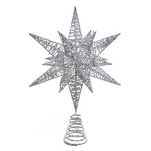 Add the perfect finishing touch to your Christmas tree with this silver glitter three-dimensional star treetop from Kurt Adler. Its multi-point design is comprised entirely from silver-Colored wire for a complex, multi-angle look. This unlit treetop attaches securely to your tree with a matching silver spiral base.