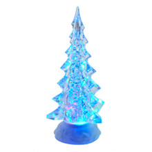 Add to your holiday lighting and decoration with this B/O LED Clear Tree Table Piece with Motion from Kurt Adler. Its clear Christmas tree design is lit from within by color-changing LED lights for a bright and festive glow. When switched on, the glitter floats up for a snowy effect.