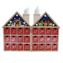 This B/O Wooden LED Nativity Advent Calendar from Kurt Adler is a fun and festive way to Countdown the days until Christmas during the advent season! Its unique design includes a twin housing with a nativity scene featuring the Holy Family, and three kings travelling to meet the baby Jesus. The base for this tranquil scene contains 24 tiny drawers.