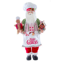 """This 40-in Christmas Chef Santa with Gingerbread from Kurt Adler is a wonderful holiday piece for your home decoration! Santa is featured as a baker with a baker's hat and apron filled with utensils. In his left hand is a gingerbread house and in his right hand he holds a gingerbread cookie. His apron reads """"Merry Christmas"""" for a festive cheer!"""